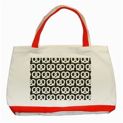 Gray Pretzel Illustrations Pattern Classic Tote Bag (Red)