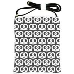 Gray Pretzel Illustrations Pattern Shoulder Sling Bags