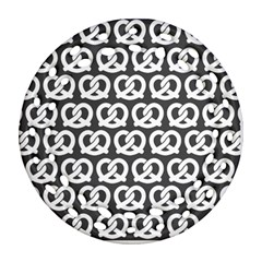 Gray Pretzel Illustrations Pattern Ornament (Round Filigree)