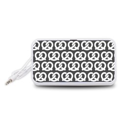 Gray Pretzel Illustrations Pattern Portable Speaker (White)