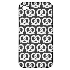 Gray Pretzel Illustrations Pattern Apple iPhone 4/4S Hardshell Case (PC+Silicone)