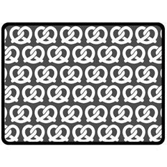 Gray Pretzel Illustrations Pattern Double Sided Fleece Blanket (large)