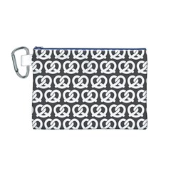 Gray Pretzel Illustrations Pattern Canvas Cosmetic Bag (M)