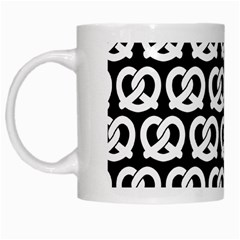 Black And White Pretzel Illustrations Pattern White Mugs