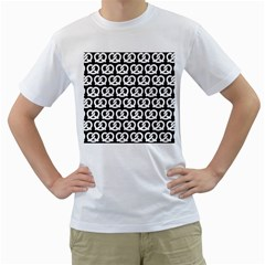 Black And White Pretzel Illustrations Pattern Men s T Shirt (white) (two Sided)
