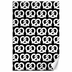Black And White Pretzel Illustrations Pattern Canvas 24  x 36