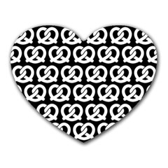 Black And White Pretzel Illustrations Pattern Heart Mousepads
