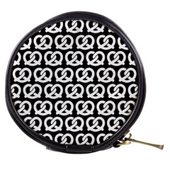 Black And White Pretzel Illustrations Pattern Mini Makeup Bags