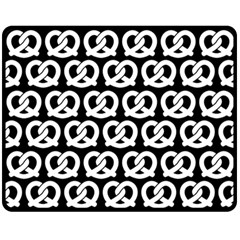 Black And White Pretzel Illustrations Pattern Fleece Blanket (Medium)