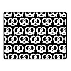 Black And White Pretzel Illustrations Pattern Fleece Blanket (Small)