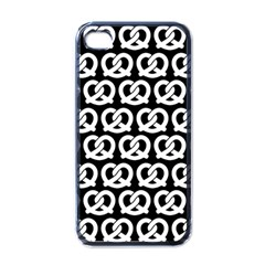 Black And White Pretzel Illustrations Pattern Apple iPhone 4 Case (Black)