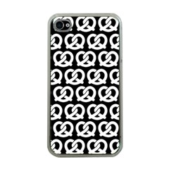 Black And White Pretzel Illustrations Pattern Apple iPhone 4 Case (Clear)