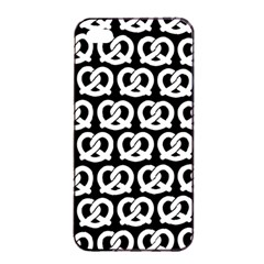 Black And White Pretzel Illustrations Pattern Apple iPhone 4/4s Seamless Case (Black)