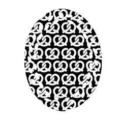 Black And White Pretzel Illustrations Pattern Ornament (oval Filigree)