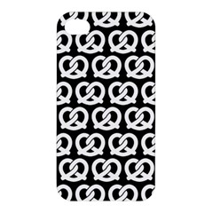 Black And White Pretzel Illustrations Pattern Apple iPhone 4/4S Hardshell Case