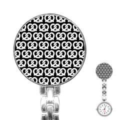 Black And White Pretzel Illustrations Pattern Stainless Steel Nurses Watches