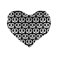 Black And White Pretzel Illustrations Pattern Standard 16  Premium Flano Heart Shape Cushions