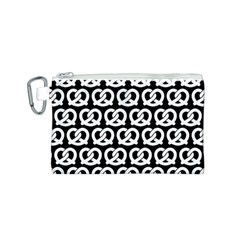Black And White Pretzel Illustrations Pattern Canvas Cosmetic Bag (S)