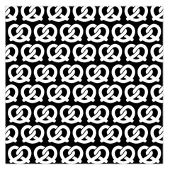 Black And White Pretzel Illustrations Pattern Large Satin Scarf (Square)