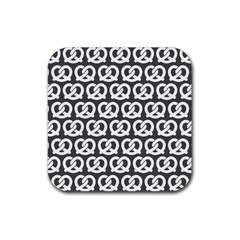Gray Pretzel Illustrations Pattern Rubber Coaster (square)
