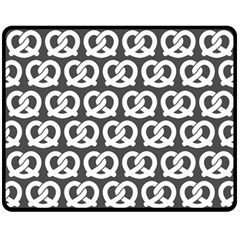 Gray Pretzel Illustrations Pattern Fleece Blanket (medium)