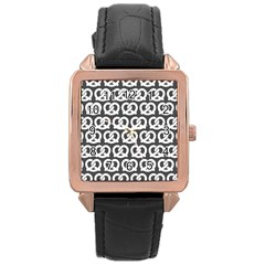 Gray Pretzel Illustrations Pattern Rose Gold Watches