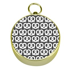 Gray Pretzel Illustrations Pattern Gold Compasses
