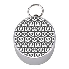 Gray Pretzel Illustrations Pattern Mini Silver Compasses