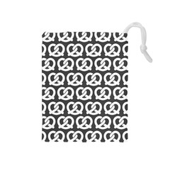 Gray Pretzel Illustrations Pattern Drawstring Pouches (Medium)