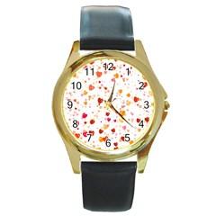 Heart 2014 0604 Round Gold Metal Watches