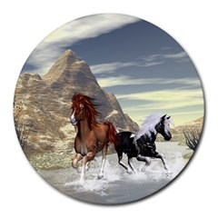 Beautiful Horses Running In A River Round Mousepads