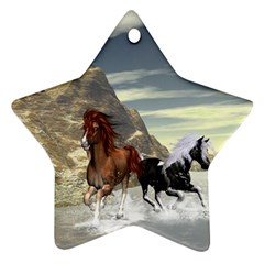 Beautiful Horses Running In A River Ornament (Star)
