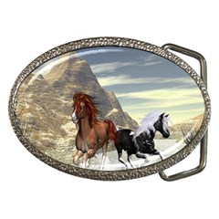 Beautiful Horses Running In A River Belt Buckles