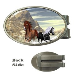 Beautiful Horses Running In A River Money Clips (oval)