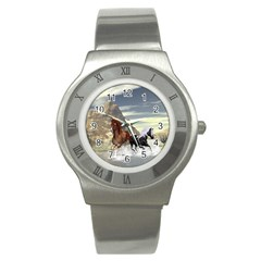 Beautiful Horses Running In A River Stainless Steel Watches