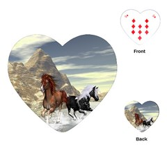 Beautiful Horses Running In A River Playing Cards (Heart)