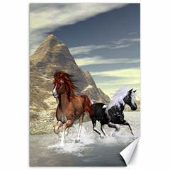 Beautiful Horses Running In A River Canvas 20  X 30