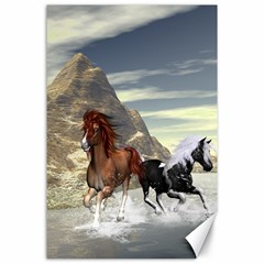 Beautiful Horses Running In A River Canvas 24  X 36