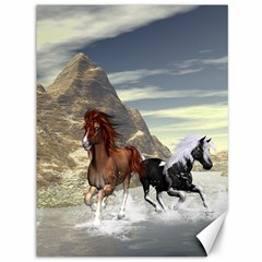 Beautiful Horses Running In A River Canvas 36  x 48