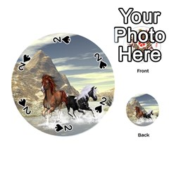 Beautiful Horses Running In A River Playing Cards 54 (Round)