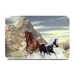 Beautiful Horses Running In A River Plate Mats