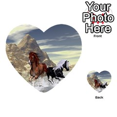 Beautiful Horses Running In A River Multi-purpose Cards (Heart)