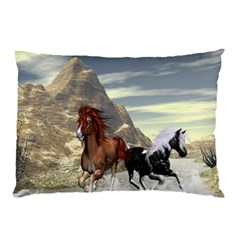Beautiful Horses Running In A River Pillow Cases