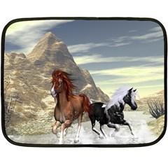 Beautiful Horses Running In A River Fleece Blanket (Mini)