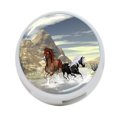 Beautiful Horses Running In A River 4-Port USB Hub (One Side)