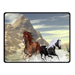 Beautiful Horses Running In A River Fleece Blanket (Small)