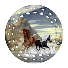 Beautiful Horses Running In A River Round Filigree Ornament (2Side)