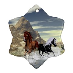Beautiful Horses Running In A River Snowflake Ornament (2 Side)