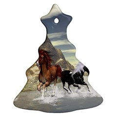 Beautiful Horses Running In A River Christmas Tree Ornament (2 Sides)