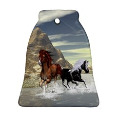 Beautiful Horses Running In A River Bell Ornament (2 Sides)